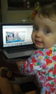 My grand daughter Clementine knows what to watch on the computer!