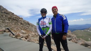 Eric Ellis and I at the top of Mt. Evans in Colorado in July, 14,160 ft. above sea level.